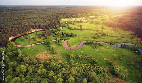 mata magnetyczna Aerial landscape - wild river in summer