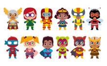 Vector Cute Kawaii Set Superheros Colorful Isolated