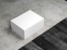 White Rectangular Box Mockup Packaging On The Floor