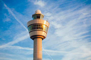 air traffic control tower in Schiphol airport Netherlands
