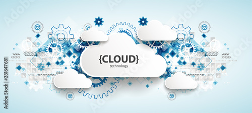 Obraz Web cloud technology, business abstract background. - fototapety do salonu