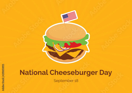 Fototapeta National Cheeseburger Day vector. Burger cartoon. Cheeseburger vector. Cheeseburger with american flag vector. American Food & Beverage Holiday. Important day obraz