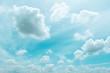 Leinwandbild Motiv sky clouds, blue fluffy clean, clear Cloudscape beautiful white, bright weather light summer