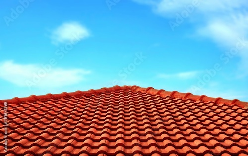 Fototapeta The old orange tiles roof slope in pyramid shaped against white clouds and blue sky background in sunny day, architecture design concept obraz