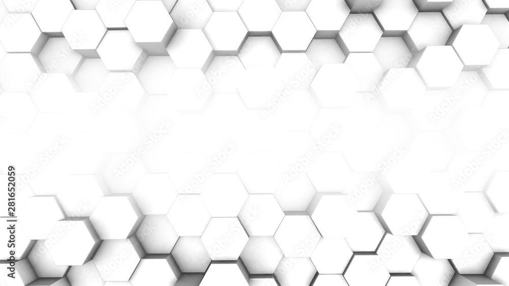 3D design trending polygonal white background with copyspace