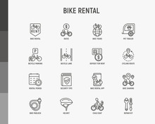 Bike Rental Thin Line Icons Se...