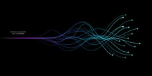 AI Artificial Intelligence Wave Lines Neural Network Purple Blue And Green Light Isolated On Black Background. Vector In Concept Of Technology, Machine Learning, A.I.