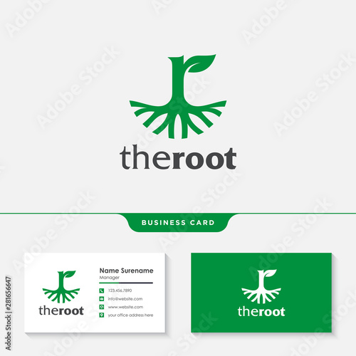 Photo  The roots letter R logo design template premium vector