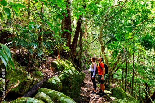 Printed kitchen splashbacks Green Couple exploring in the lush Lamington National Park, Queensland