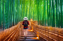 Woman Traveler With Backpack Walking At Bamboo Forest In Kyoto, Japan.