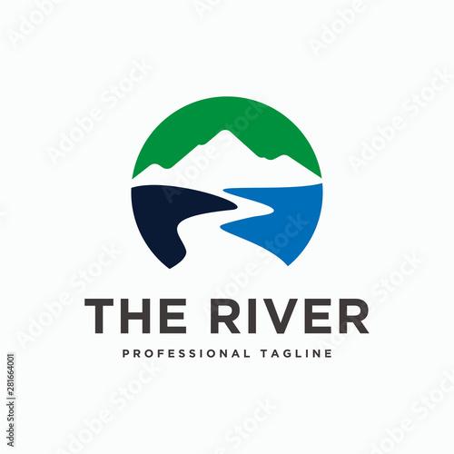 Tableau sur Toile Mountain river logo design template vector