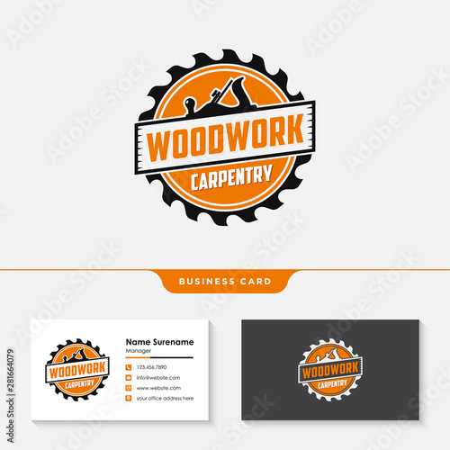 Obraz woodwork carpentry logo design template vector - fototapety do salonu