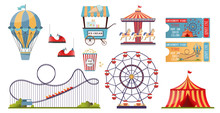 Amusement Park Vector Set With...