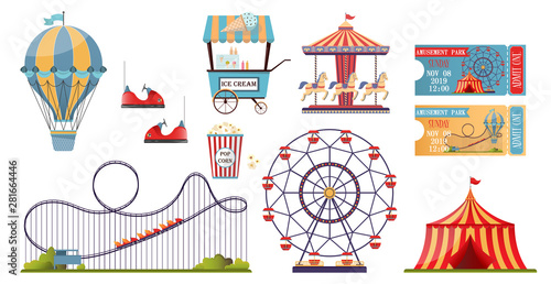 Leinwand Poster Amusement park vector set with flat elements isolated on white background