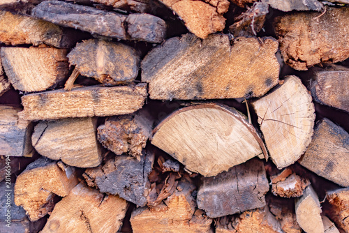 Photo sur Aluminium Texture de bois de chauffage wet wood in the woodpile