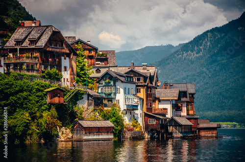Fotomural Hallstatt, Austria: houses and famous lake