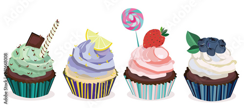 Fotografie, Obraz  Vector collection,set of beatiful,realistic desserts,cupcakes with cream and fruits