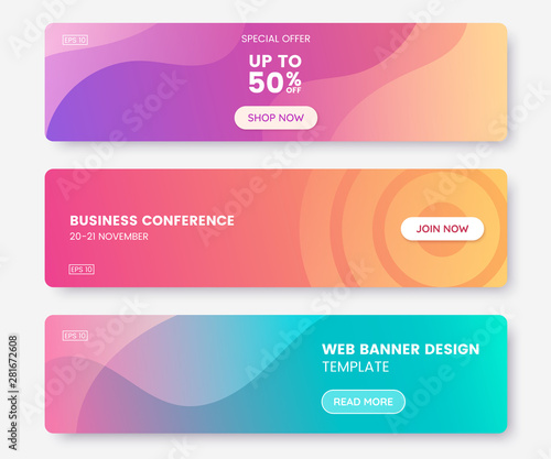 Colorful web banner with push button. Collection of horizontal promotion banners with pastel gradient colors and abstract geometric backdrop.Header design. Vibrant coupon template. Vector eps 10