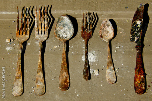 Silverware, Urban archeology Canvas Print
