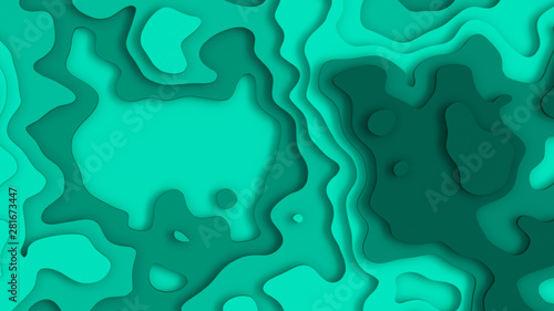 Wall Murals Green coral 3D Landscape Paper Cut style, Curved shapes with bluegreen gradients, abstract geometric lines pattern background art illustration for cover design, book, poster, flyer