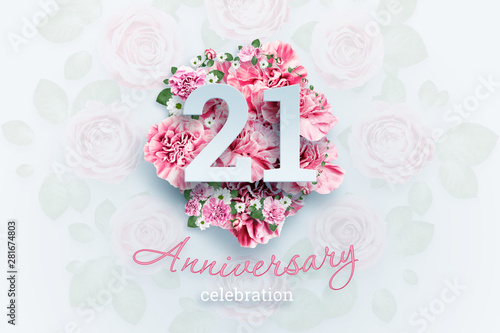 Creative background lettering 21 numbers and anniversary celebration text on pink flowers background Canvas-taulu