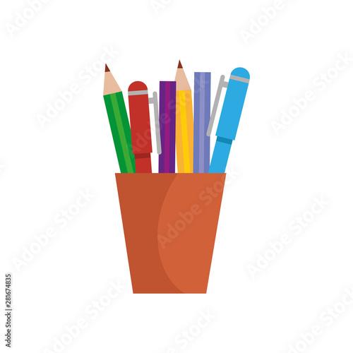 Fotografie, Obraz  pencils holder office device icon