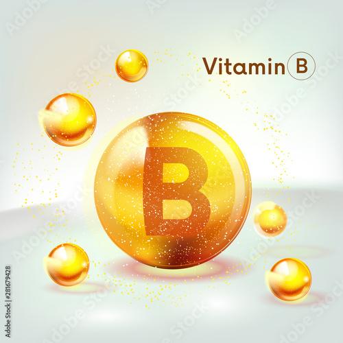 Fotografia  Vitamin B gold shining icon