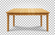 Realistic Wooden Table On Transparent Background. Wood Table, 3d. Element For Your Design,game, Advertising.vector