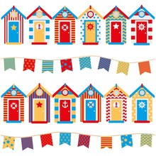 Seamless Pattern Beach Huts, Children's Wallpaper, Print On Clothes In A Marine Style
