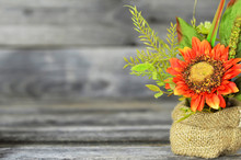 Artificial Sunflower On Rustic...
