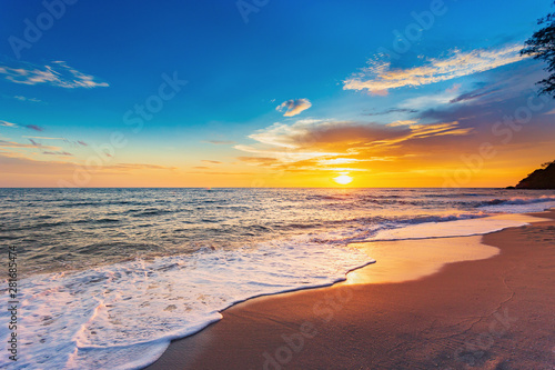 Beautiful Landscape Ocean Summer sunset Natural background