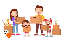 Family Moving House Vector Ill...