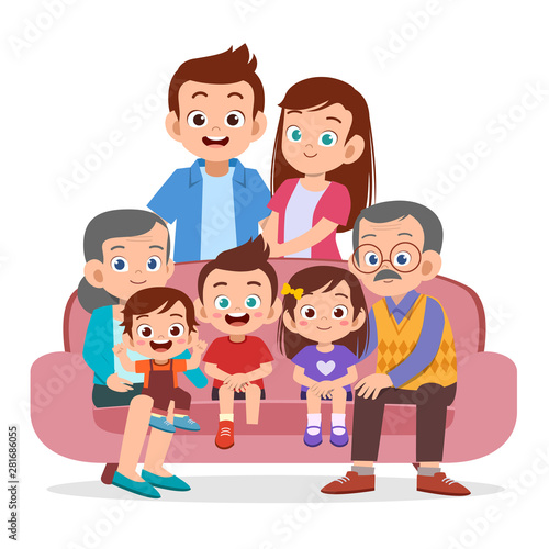 family gathering together vector isolated Fototapet