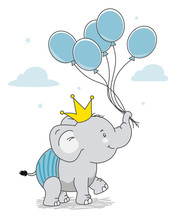 Happy Elephant With Crown And ...