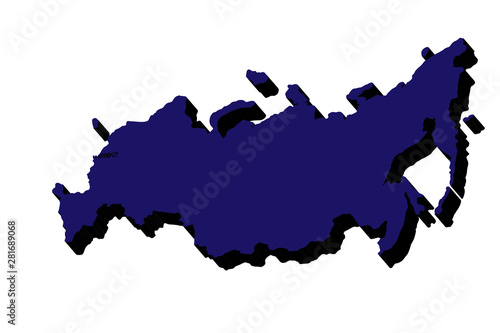 Russia map. Russian federation 3D vector map. Vector illustration Canvas Print