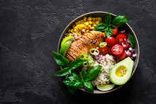Grilled Chicken Breast Lunch Bowl With Fresh Tomato, Avocado, Corn, Red Onion, Rice And Basil