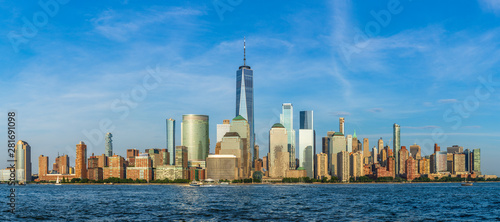 Photo sur Aluminium New York View to Lower Manhattan Skyline from Exchange Place in Jersey City at sunset.