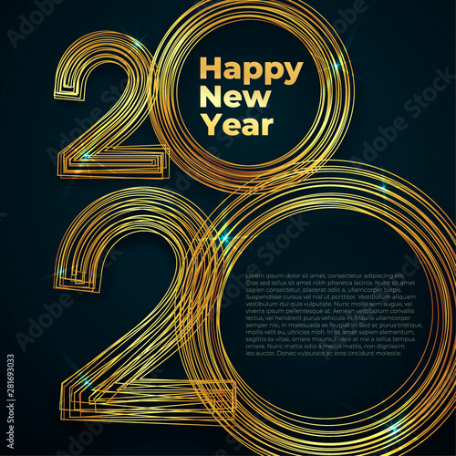 Fototapeta Gold Lines New Year 2020 Creative Element For Design Luxury Cards Invitations Party For The New Year 2020 And Christmas Modern Design Gold