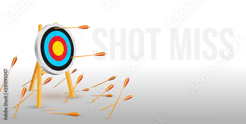 Cuadros en Lienzo  Multiple failed inaccurate attempts to hit archery target