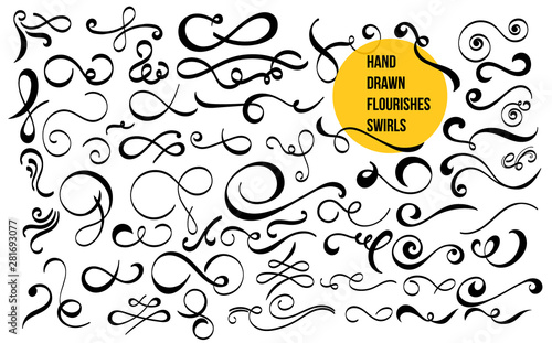 Set of hand drawn flourishes swirls, text dividers, wedding decor design elements Fototapete