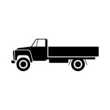 Truck Icon. Black Silhouette. Side View. Vector Drawing. Isolated Object On White Background. Isolate.