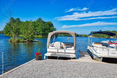 Port Severn, Canada-5 May, 2019: Scenic landscapes of Six Mile Lake Provincial P Canvas Print