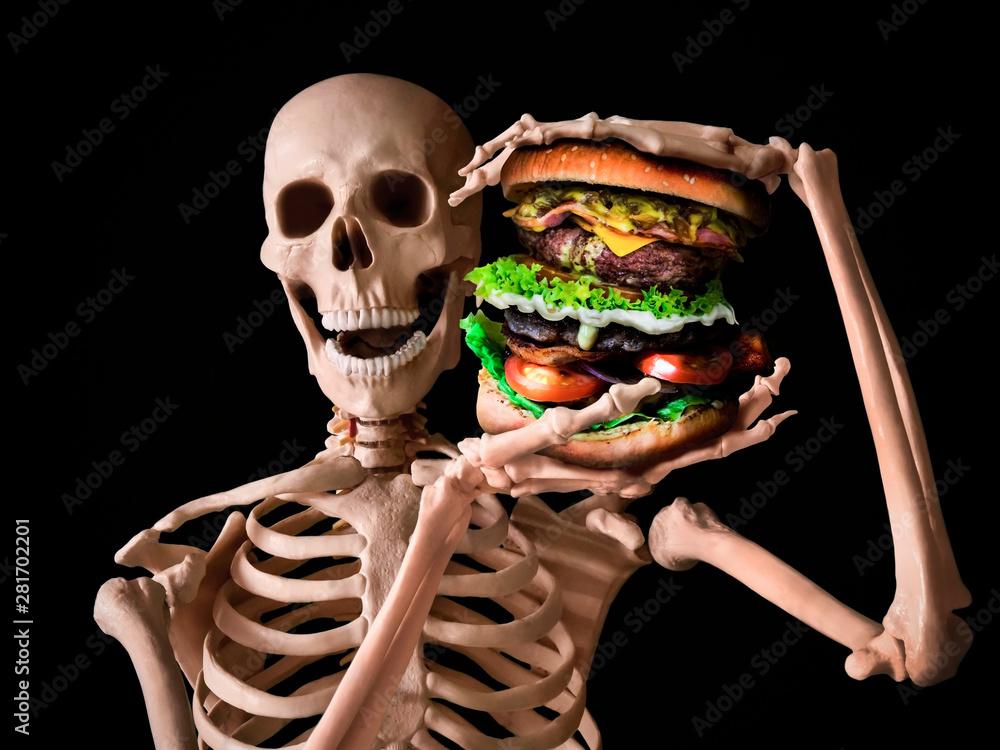 Fototapety, obrazy: funny skeleton eating deadly junk food