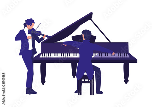 Wallpaper Mural musician playing piano and man with violin