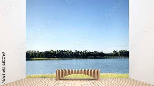 Türaufkleber Weiß Bench on living room in home with lake view and nature view - Relax area on terrace with lake view and forest view background - 3D Rendering