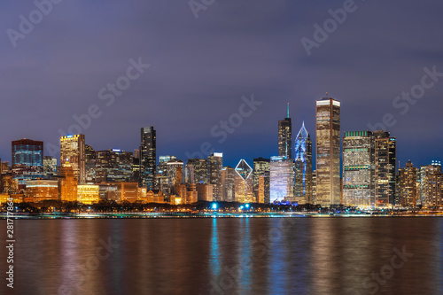 Aluminium Prints City building Chicago Cityscape river side along Lake Michigan at beautiful twilight time, Illinois, United States, Business Architecture and building with tourist concept