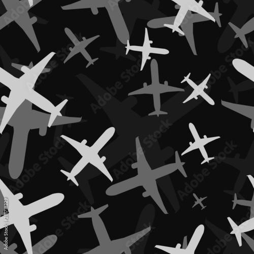 Fototapeten Künstlich Seamless black and white airplane bottom view multiple silhouettes travelling pattern vector