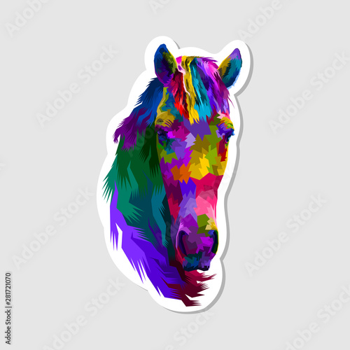 sticker of colorful horse head фототапет