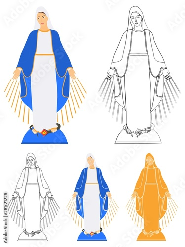 Fotomural Our Lady of Grace medal colored and outline
