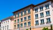 canvas print picture - Exterior view of multifamily residential building; Santa Clara, San Francisco bay area, California